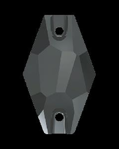 Swarovski 3261 Hexagon sew-on, Jet Hematite, 28 mm.