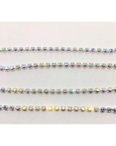 Preciosa Maxima cupchain (kæde) ss16 (4 mm), Crystal AB, sølvfarvet setting, pr. 10 cm.