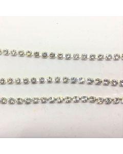 Preciosa cupchain ss16 (4 mm), Crystal, sølvfarvet setting, pr. 10 cm.