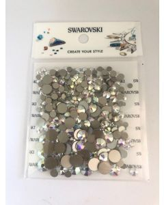 Stor Swarovski-mix, Crystal AB, 300 stk. (3-7 mm)