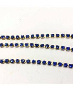 Preciosa cupchain ss16 (4 mm), Sapphire, raw setting, pr. 10 cm.